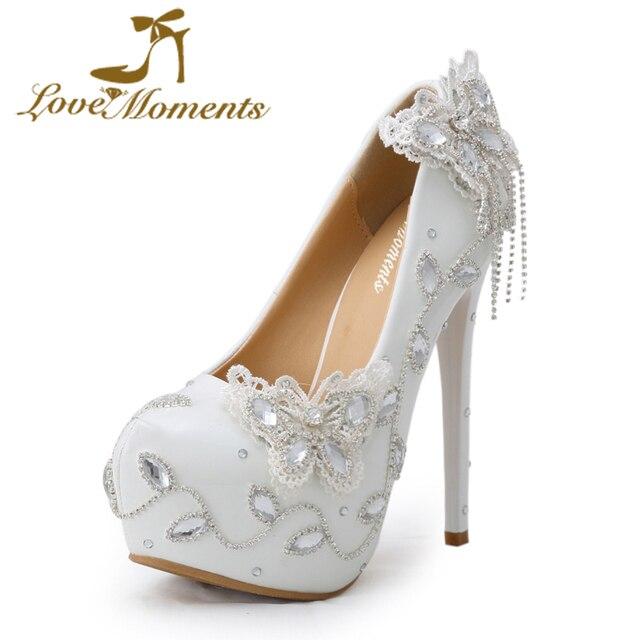 Cinta Saat sepatu pernikahan pengantin putih handmade kristal pompa berlian  imitasi high heels Party Dress sepatu 8a72df9d42c1