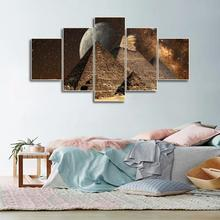 Laeacco 5 Panel Canvas Painting Pyramid Night Wall Artwork Places of Interest Posters Prints Nordic Home Living Room Decoration