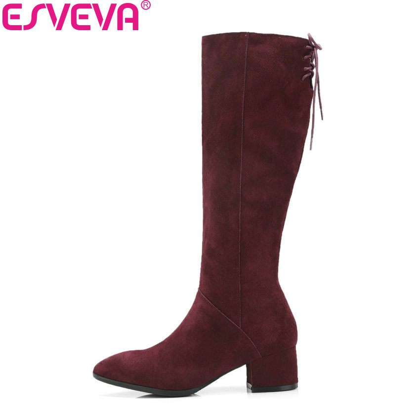 ESVEVA 2019 Women Shoes Pointed Toe Short Plush High Heels Winter Boots Square Heels Knee High Boots Zip Autumn Shoes Size 34-39 esveva 2018 women boots short plush pu lining elastic band pointed toe square high heels ankle boots ladies shoes size 34 39