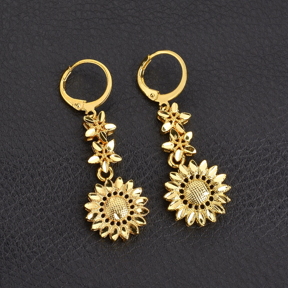 Mms Women Dangle Long Stainless Steel Earrings Elegant Gold Sunflower Earring For Valentine S Day Gift In Drop From Jewelry Accessories