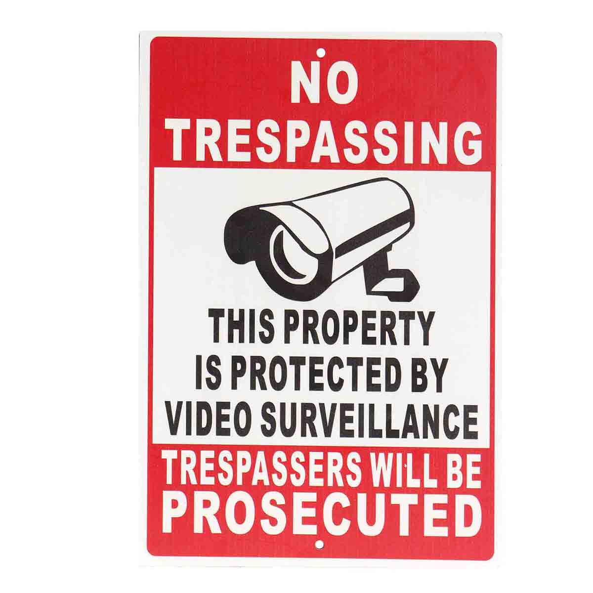 NO Trespassing Property Protected By Video Surveillance Safety Camera Metal Sign fire dept no problem metal tin sign 16 x 12 5