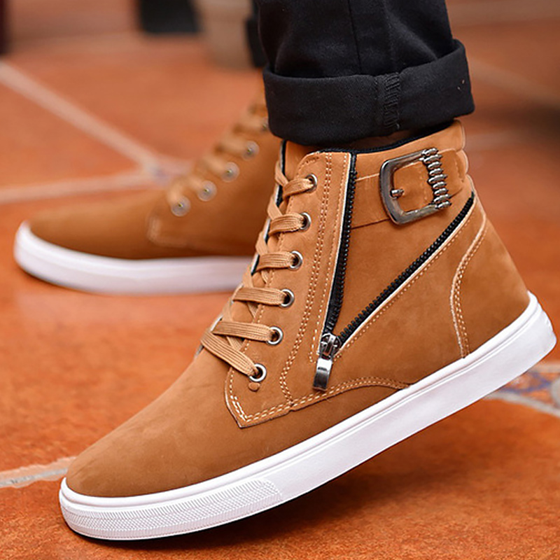 Ankle Boots Men Buckle Zipper Designer Martin Boots Synthetic Damping Comfortable Boy Boots 2019 News