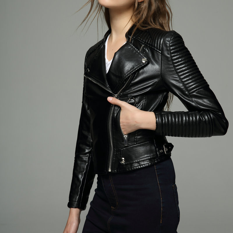 2018 New Autumn Winter Women Faux Soft   Leather   Jackets and Coats Lady Pu Motorcycle Black Silver Pink Zipper Coat Streetwear hot