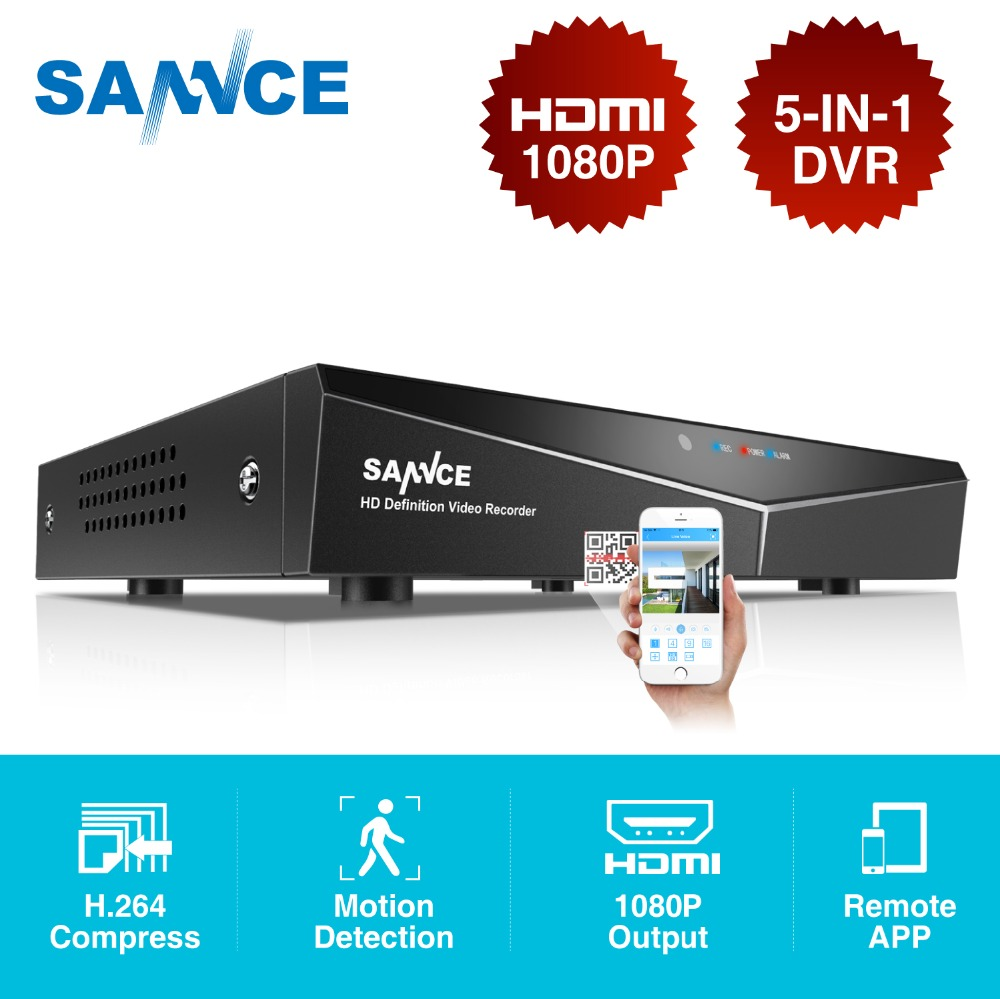 SANNCE 8CH 5IN1 1080N CCTV DVR Digital Video Recorder Sistema de Vigilância Home Security H.264 Full HDMI P2P Acesso Remoto Onvif