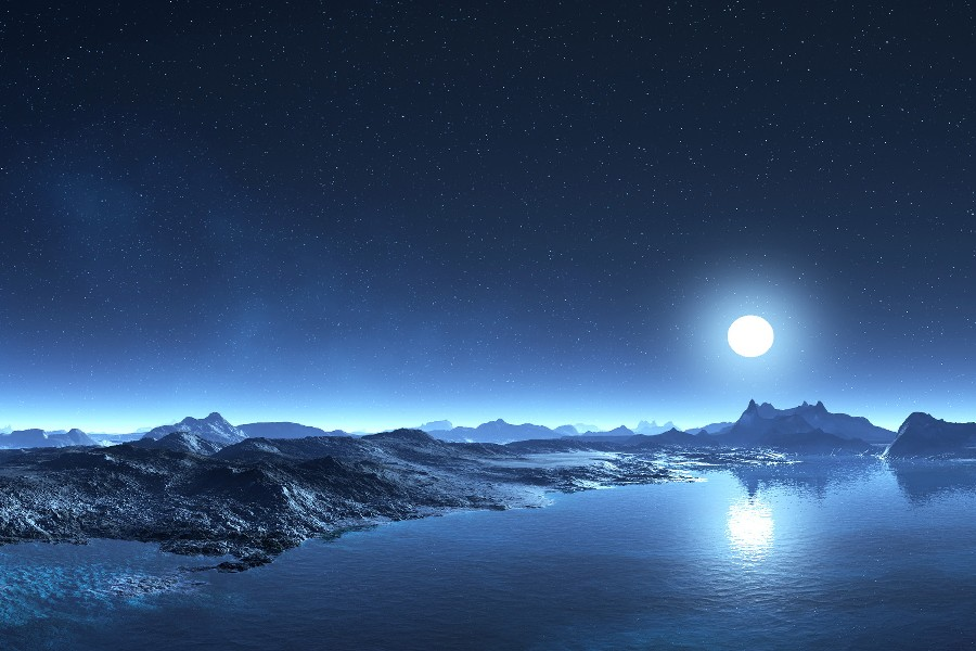 Sci Fi Landscapes Art Lakes Mountains Sky Stars Moon Night Cloth Silk Art Wall Poster And Prints