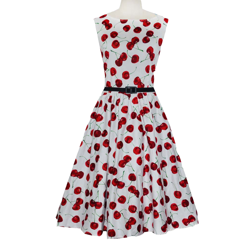 70dcb1cf2ac1 Ukraine Women Audrey hepburn sleeveless Retro Rockabilly Swing Black white  fruit Cherry elegant bodycon dress L XL XXL Vestidos