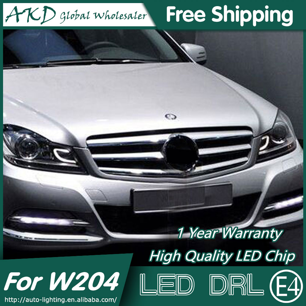 AKD Car Styling LED Fog Lamp for Benz W204 DRL 2013-2014 C200 LED Daytime Running Light Fog Light Parking Signal Accessories akd car styling for ford fiesta drl 2013 2014 cob signal drl led fog lamp daytime running light fog light parking accessories