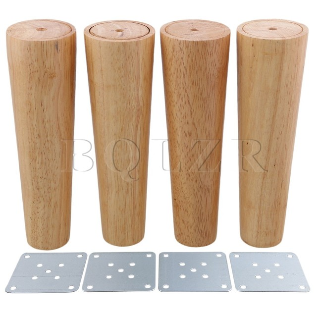 BQLZR 20cm Height Wood Color Tapered Reliable Wood Furniture Cabinets Legs  Sofa Feets Pack Of 4