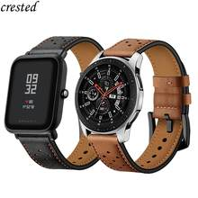 20/22mm strap For Galaxy Watch 46mm/42mm/Active Samsung Gear S3 frontier/S2/Sport Genuine Leather Band Huawei Watch GT S 3 2 46(China)