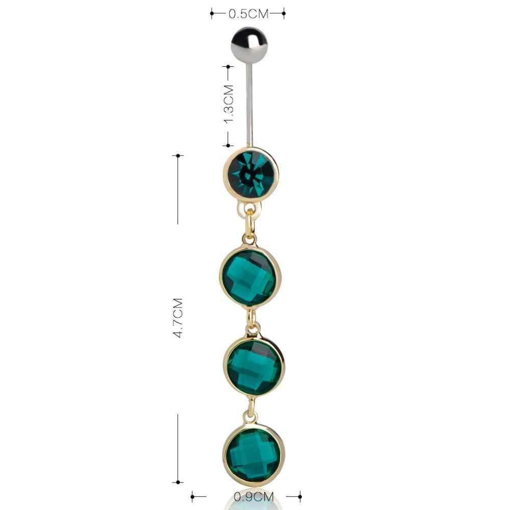 Blucome เซ็กซี่แหวนคริสตัลน้ำ Drop Long Dangle เหล็ก Navel Belly ปุ่มแหวนเจาะเครื่องประดับอุปกรณ์เสริม