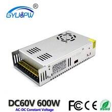 Небольшой объем одиночный выход импульсный источник питания DC60V 10A 600 Вт трансформаторы 110 В 220 В переменного тока в постоянный SMPS для светодиодные ленты лампа светильник