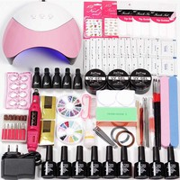 Set for Nail Extensions Builder Gel Acrylic Kit 6 Color Gel Varnish Polish 36w/54w Led Uv Nail Lamp Electric Machine Manicure