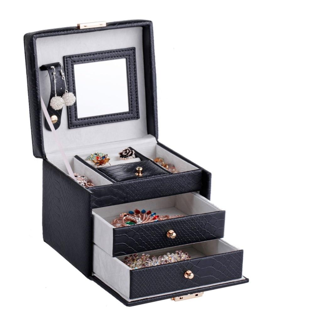 PU Leather Jewelry Mirror Box Waterproof Storage Organizer Case