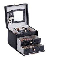PU Leather Jewelry Mirror Box Waterproof Storage Organizer Case Rings Earrings Necklaces Display Black Carry Casket Locker ZG075