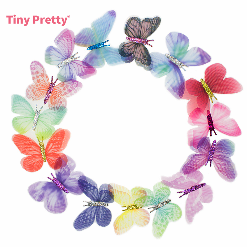 20PCS Double Layers Chiffon Fabric Butterflies 3D Tulle Butterfly Appliques for Tutu  Hair Accessory  Party Decor  Sewing Crafts|Patches| |  - title=