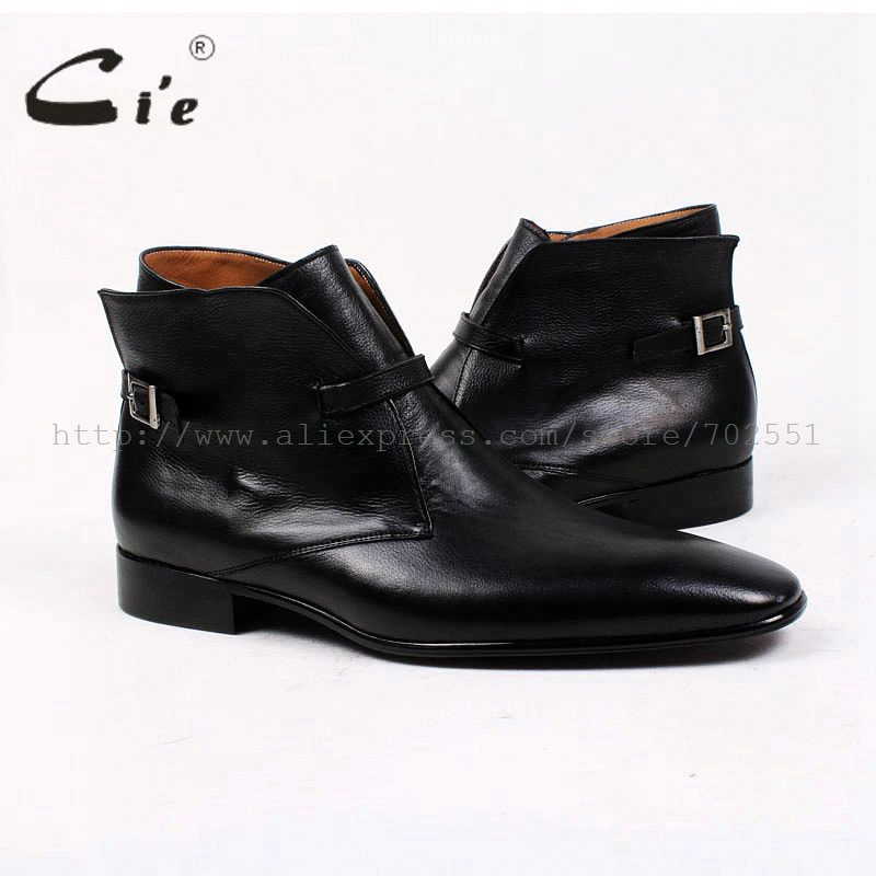 cie square plain toe solid pebble grain black calf leather boot 100%genuine leather breathable outsole bespoke men's boot  A88