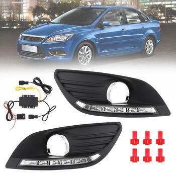 White Light Waterproof Universal 6000K LED Car Auto Daytime Running Traffic Lights Fog Lamp for 09-14 Ford Fox