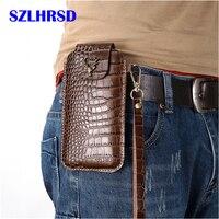 Wrist Men Genuine Leather Case Mobile Phone Waist Bag Wear Belt Verticle Waist Bag for Samsung Galaxy J4 Plus J3 J6 J7 J4 J8