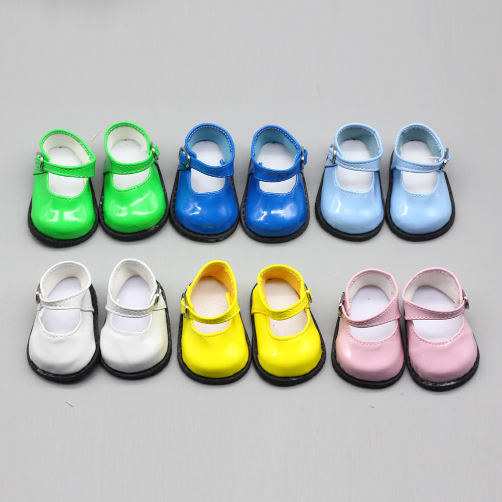 1Pair PU Leather Shoes for fit 18 inch Girl Doll Shoes As For 43cm baby Doll Accessories toy(China)