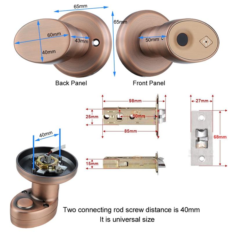 RAYKUBE Biometric Fingerprint Door Lock Knob Smart Keyless Deadbolt Lock Home Office Door Keyed Lock Zinc Alloy R-S178