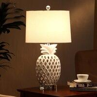 Free Ship Pineapple Modern Ceramic Led Table Lamps For Bedroom Living Room Bedside Crystal Base Desk Lamp Luminarias Decor Lamp