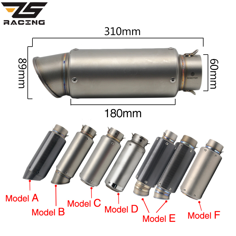 Silencieux d'échappement de moto ZS Racing SC GP silencieux d'échappement d'échappement en Fiber de carbone tuyau d'échappement 51mm 61mm pour Z750 R1 R6 S1000RR