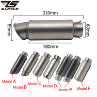 ZS Racing Motorcycle Exhaust Muffler SC GP Escape Exhaust Mufflers Carbon Fiber Exhaust Pipe 51mm 61mm For Z750 R1 R6 S1000RR