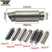 ZS Racing moto silencieux déchappement SC GP échappement silencieux déchappement en Fiber de carbone tuyau déchappement 51mm 61mm pour Z750 R1 R6 S1000RR