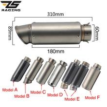 ZS מירוץ אופנוע עמעם פליטת SC GP בריחה פליטה עמעם פליטת סיבי פחמן צינור 51mm 61mm עבור Z750 r1 R6 S1000RR