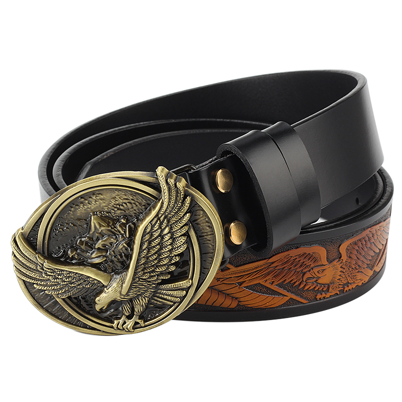 Spread your wings and fly eagle   belt   buckle Genuine leather   belt