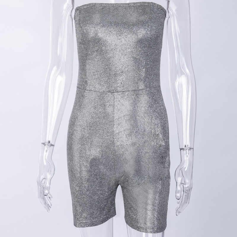 Yuqung Для женщин пикантные серебристые женские туфли-лодочки купальный костюм с шортами тонкий Повседневное комбинезон вечерние платье с открытыми плечами, Bodycon Комбинезоны Женский костюм пляжного типа A55