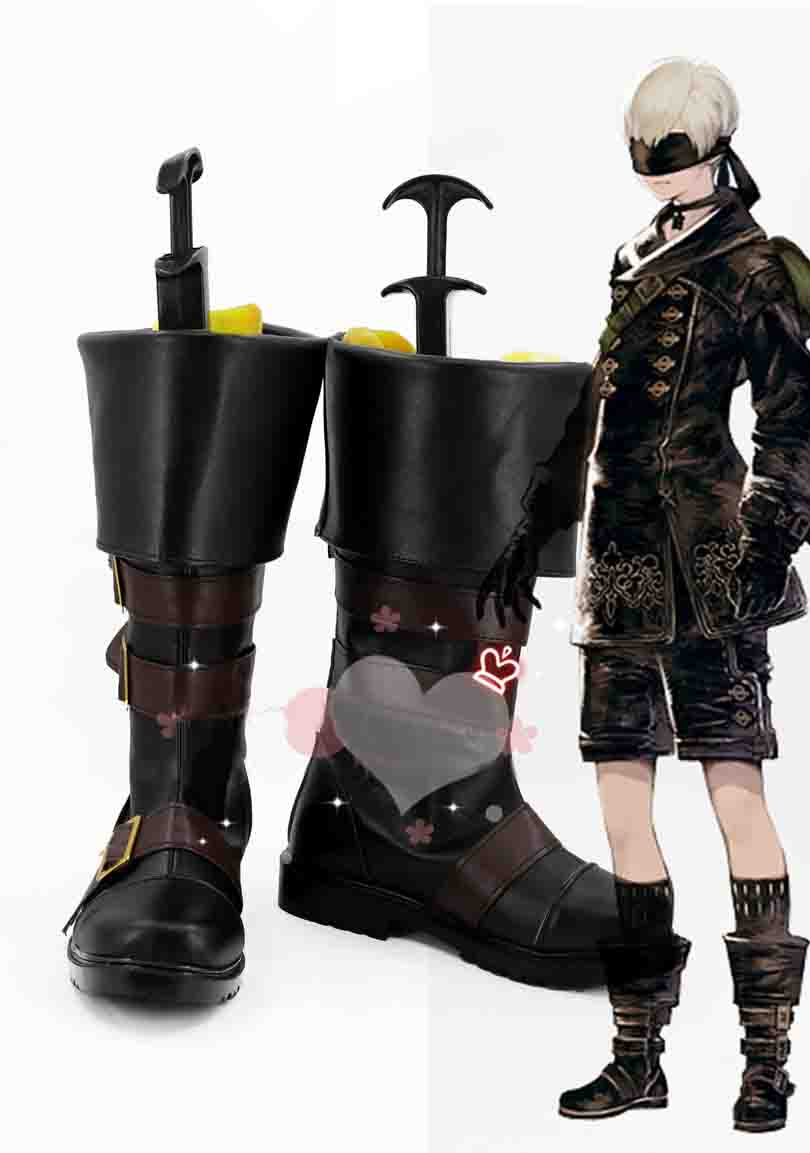 New Arrival NieR: Automata 9S Cosplay Shoes Halloween Black High Boots Custom Made Halloween Free Shipping
