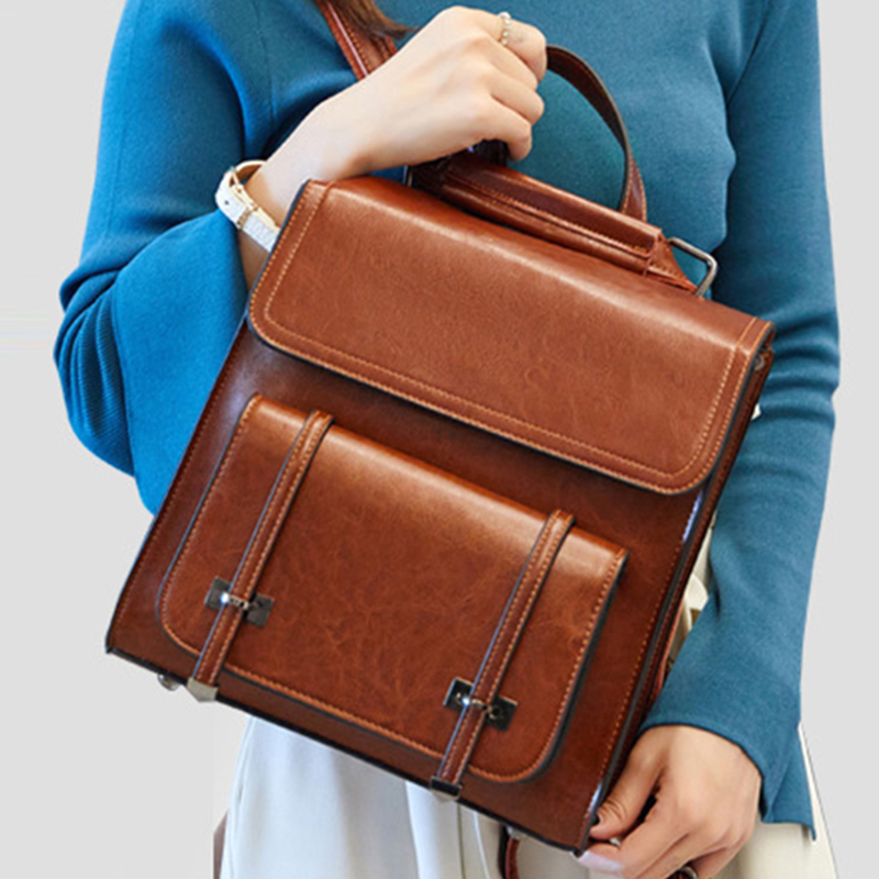 High Quality Genuine Leather Backpack Travel Knapsack Women Oil Wax Cowhide Fashion One Shoulder Bags School