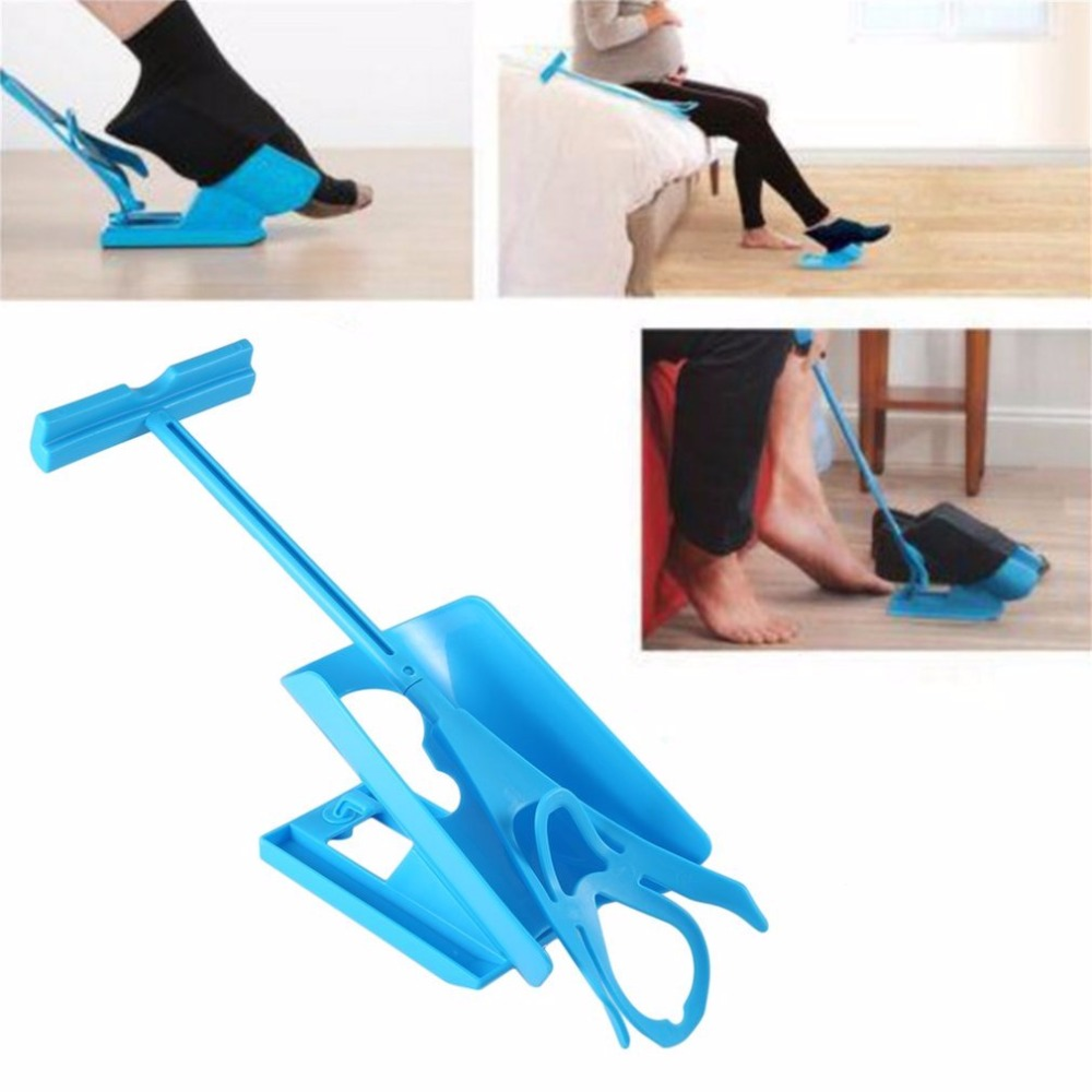 Sock Slider Easy On Easy Off Sock Aid Kit Sock Helper No Bending Stretching for Pregnancy and Injuries Living Tool sock slider aid blue helper kit help