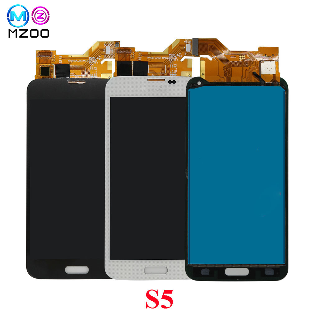 MZOO LCD Screen For Samsung <font><b>S5</b></font> I9600 <font><b>SM</b></font>-<font><b>G900</b></font> G900A G900F G900P G900T LCD <font><b>Display</b></font> Tela Panel Digitizer Assembly Replace Parts image