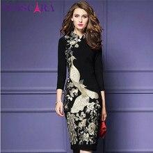TESSCARA Herfst Vrouwen Luxe Borduurwerk Jurk Vrouwelijke Elegante Kantoor Potlood Gewaad Femme Retro Vintage Vestidos Plus Size S 4XL