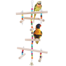 Birds toys Wooden Birdcage Accessories Pet Parrot Toys Hanging Hammock Gnawing Swing for Parakeet Budgie Cockatiel Bird Toy