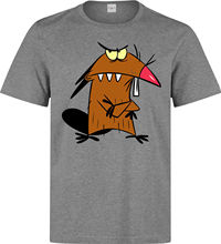 Angry Beavers Daggett Dag Cartoon Art men's (woman's available) grey t shirt Cartoon t shirt men Unisex New Fashion tshirt