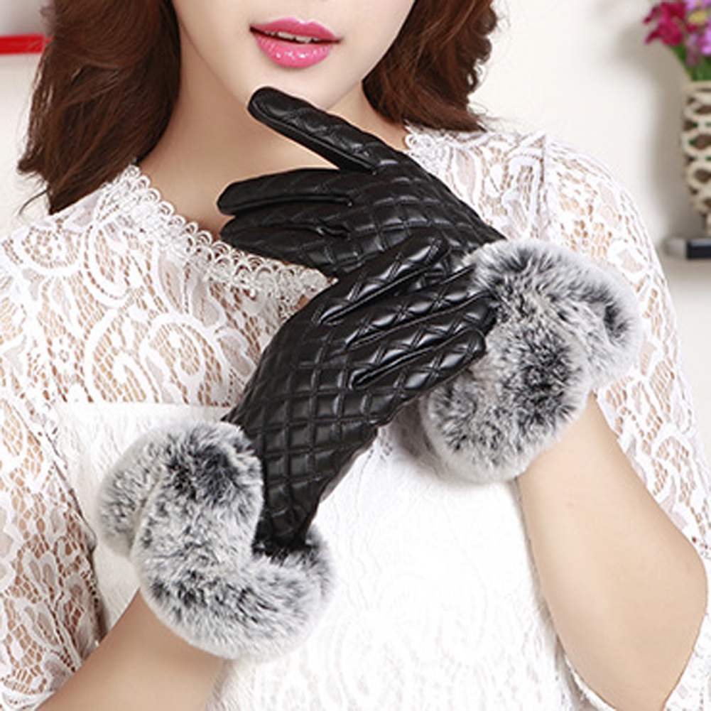 Womens leather gloves purple - Women Rabbit Fur Ball Pu Leather Gloves Winter Mitten Grid Gloves Black Red Purple