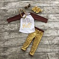 Football clothes Fall suit kids brown boutique clothing pants gold Sequins long sleeves with matching bow and necklace set