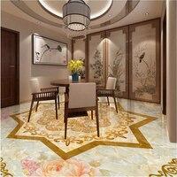 Custom Wallpaper Romantic Pattern Parquet Marble Flooring Pvc Self Adhesive Wallpaper For Walls 3D Floor Tiles