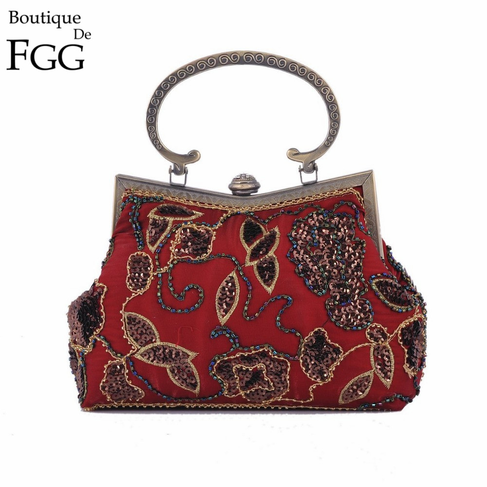 Chinese Old School Style Women Red Silk Floral Appliques Beading Sequins Embroidery Metal Frame Evening Clutches Purse Handbag vintage embroidery women flats chinese floral canvas embroidered shoes national old beijing cloth single dance soft flats