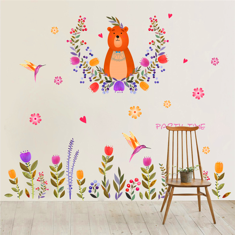colorful flower birds bear wall stickers for kids rooms TV