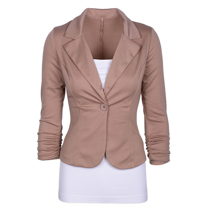 Women's Casual Work Solid Color Knit Blazer Plus Size One ...
