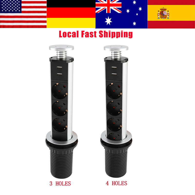 1Pcs Electrical Pull/Pop Up Socket 2USB Tensile Power Outlet socket Kitchen Desk Socket for Countertops Worktop EU Plug Hot Sale spain