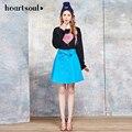 Corazón y el Alma de Las Niñas Faldas de Color Sólido Mujeres Rosa Azul Longitud de La Rodilla Faldas Falda Femenina 2017 de La Moda de Alta Calidad de Ropa de Primavera