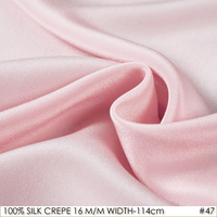 16mommes 100% Pure SILK CREPE DE CHINE width 114cm Fabric Pink for Sewing Silk Dress Women Skirt No.47