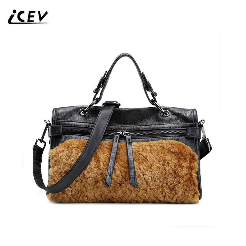 ICEV New Fashion Genuine Leather Handbags with Rabbit Hair Bags Handbags Women Famous Brands Luxury Handbags Women Bags Designer icev new fashion europe style genuine leather handbags alligator women leather handbags bags handbags women famous brands bolsa