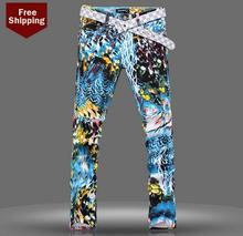 Autumn colored drawing flower printed mens jeans denim trousers male personalized luxury brand modern urban casual elastic pants