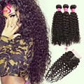 Ariel Hair Product Kinky Curly Virgin Brazilian Curly Hair With Closure 3 Bundles Curly Weave Human Hair With Curly Closure